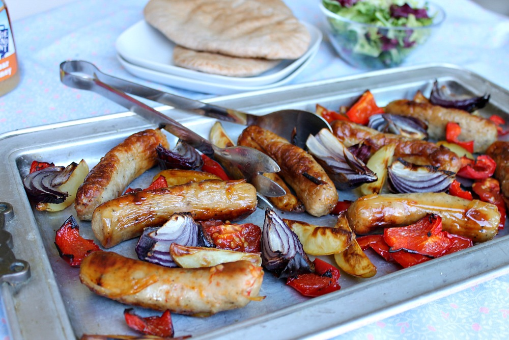 Honey Mustard Roasted Sausages & Potatoes Recipe for summer