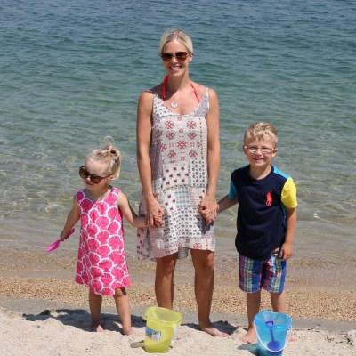 Family beach day in America