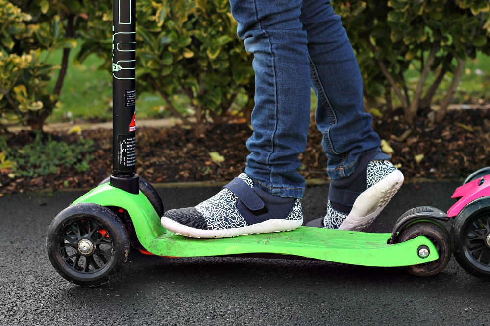 Scooting in Matching Bobux Shoes for Spring