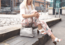Floral Trousers White Frill Sleeved Blouse and White Heel Sandals for Summer