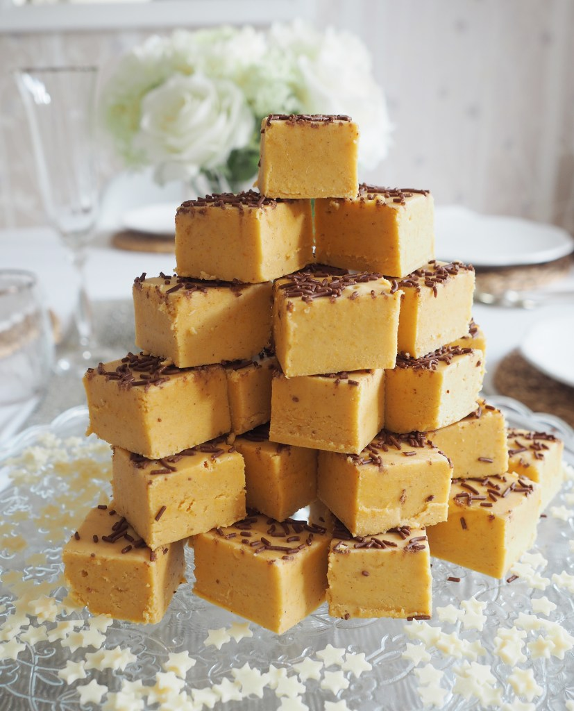 A tower of fudge with sprinkles