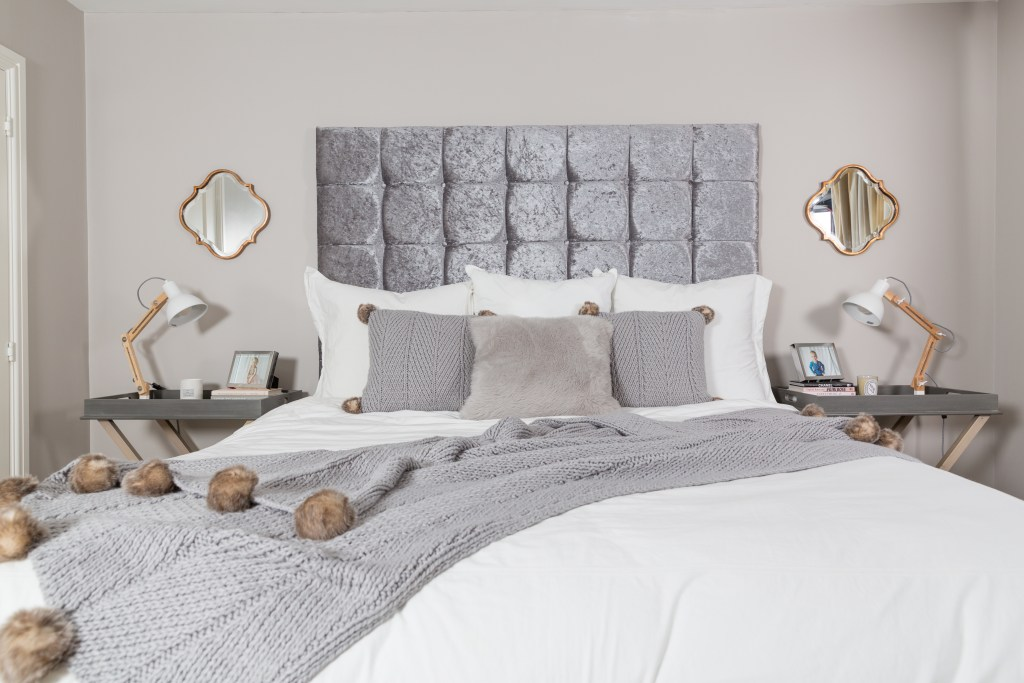 Master Bedroom Room Tour featuring Cox & Cox tables and mirrors
