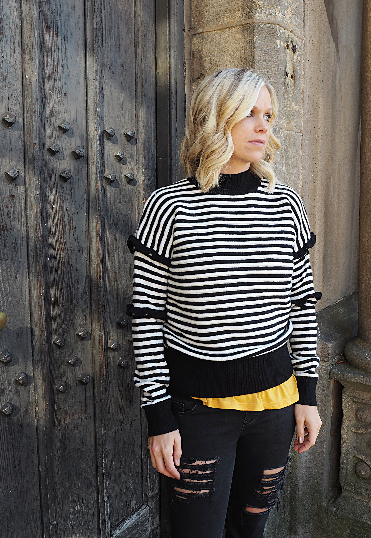 "Matalan fashion Black and White Stripe Knitwear and Mustard ""dream long"" tshirt top"