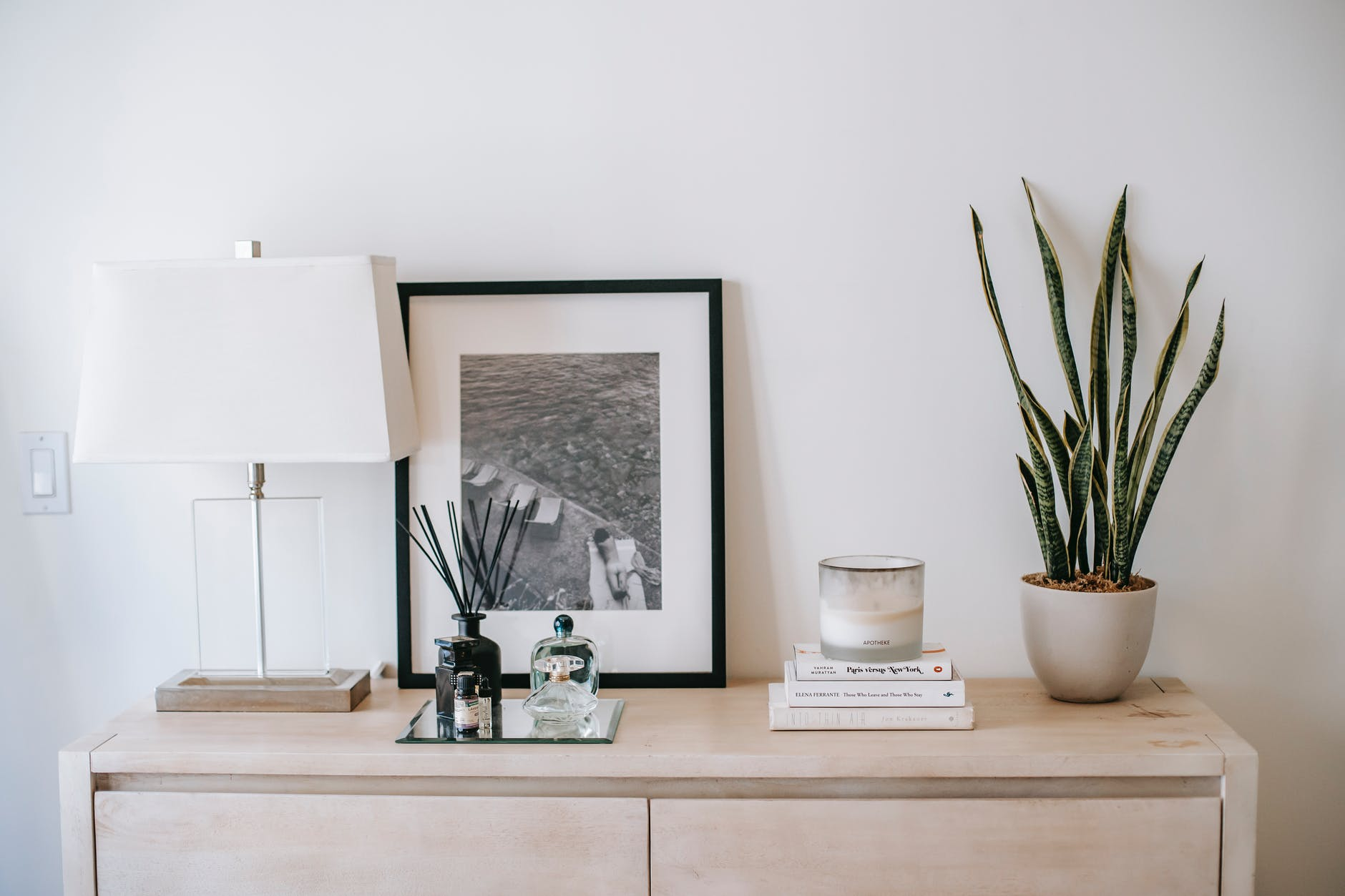 photo with potted plant on chest of drawers in room