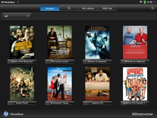TouchPad Movie Store App
