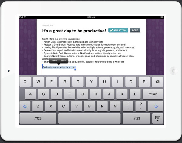 Next! app for iPad