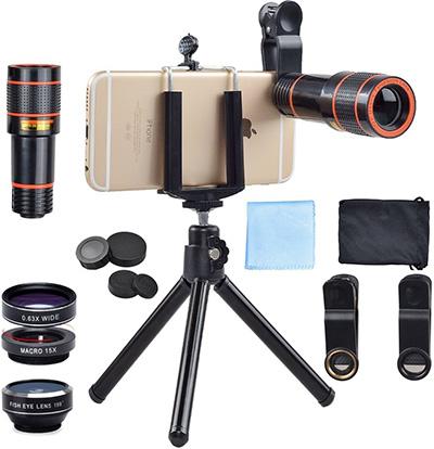 Apexel 4-in-1 12x Zoom Telephoto Lens