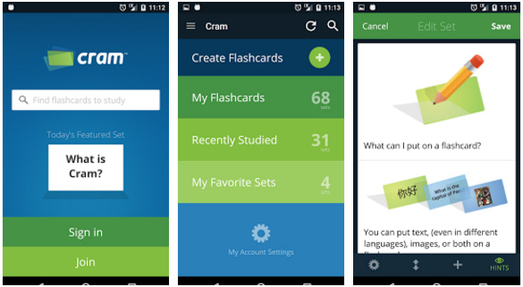 Cram.com Flashcards Android educational app