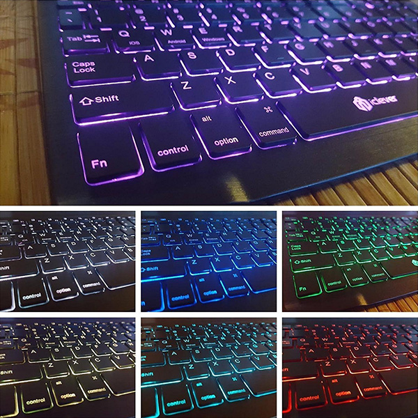 iClever 7 Color Backlit Bluetooth Keyboard