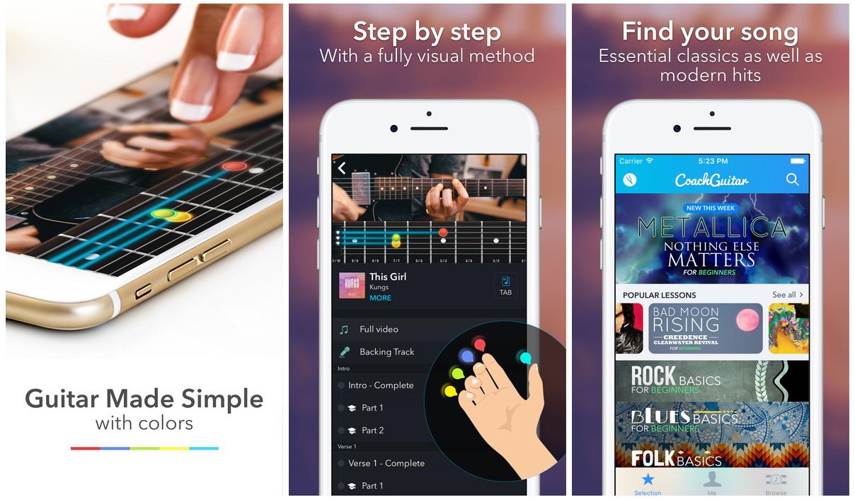 Coach Guitar lessons music app for iOS