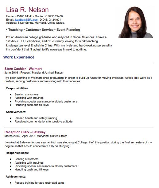 sample tefl resume