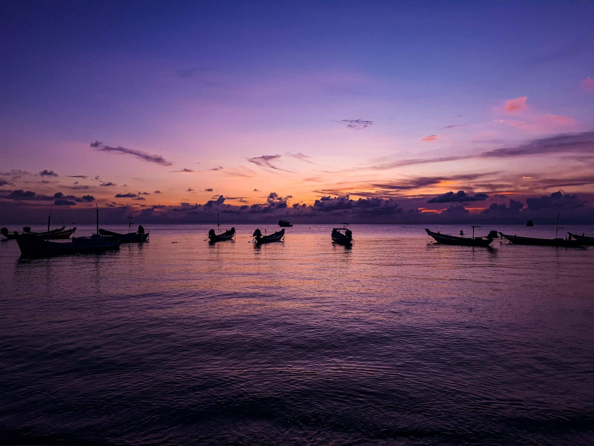 sunset on koh Tao island in Thailand