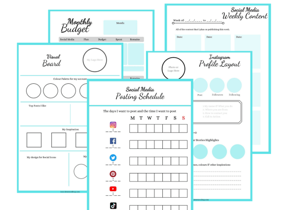 5 pages that are included in the social media planner
