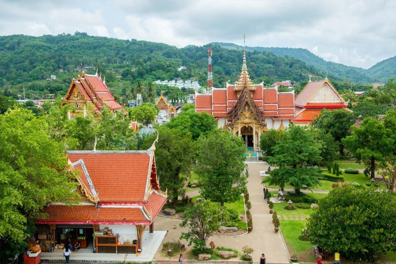 Wat Chalong temple in Phuket Thailand from above