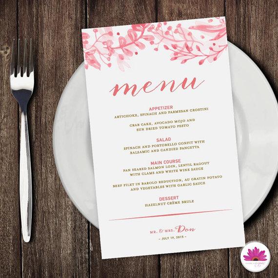 kolorowe menu weselne