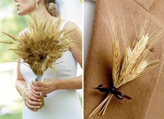 bukiet ślubny ze zboża