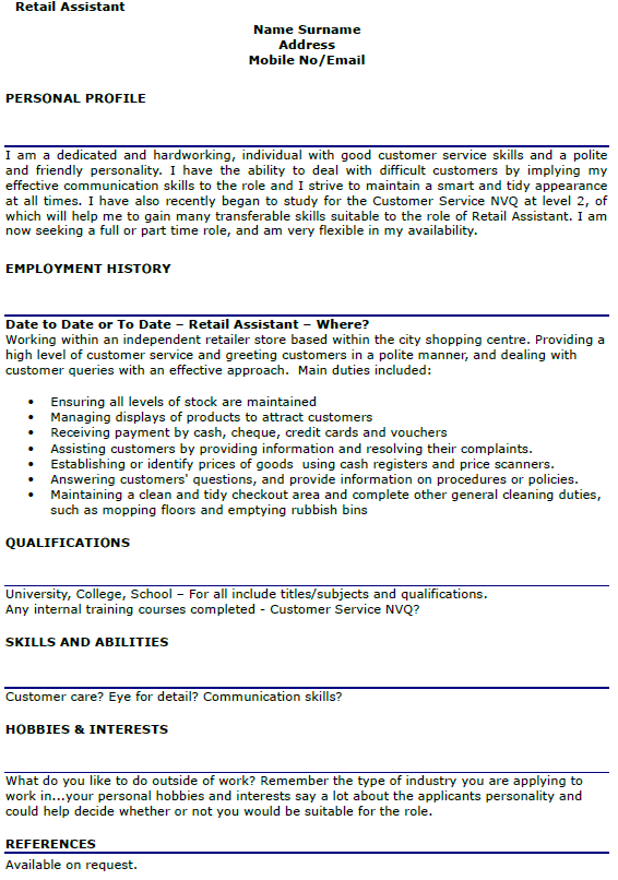 example of resume for retail assistant