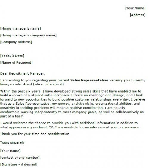 example cover letter for sales