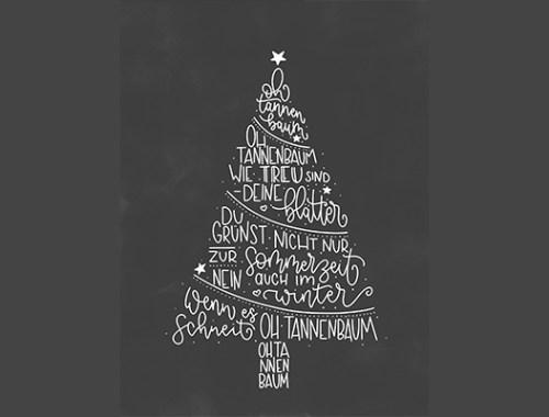 Fensterbild Weihnachtsbaum aus Kreide