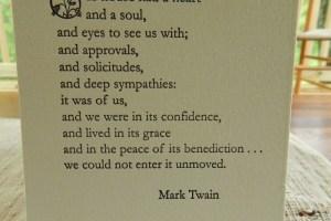 Photo of Mark Twain's tribute to home