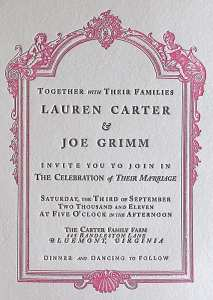 Letterpress printed invitation