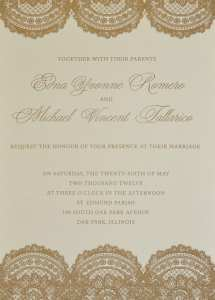 Offset printed wedding invitation.