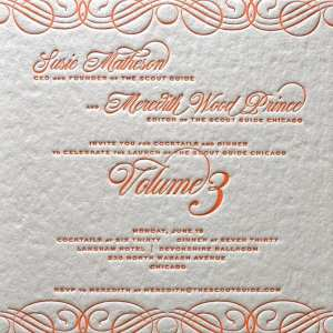 Letterpress printed corporate invitation.