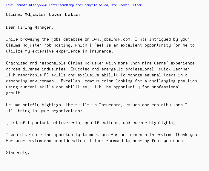 Cover Letter For Insurance Adjuster Position | mamiihondenk.org