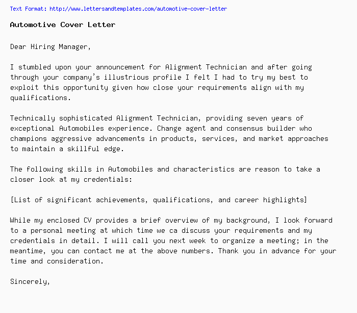 Automotive Cover Letter  Job Application Letter