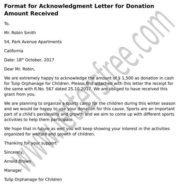 Acknowledgement Of Payment Received