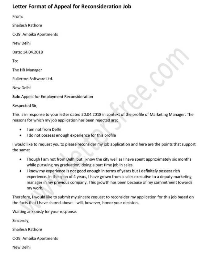 sample letter of reconsideration for job