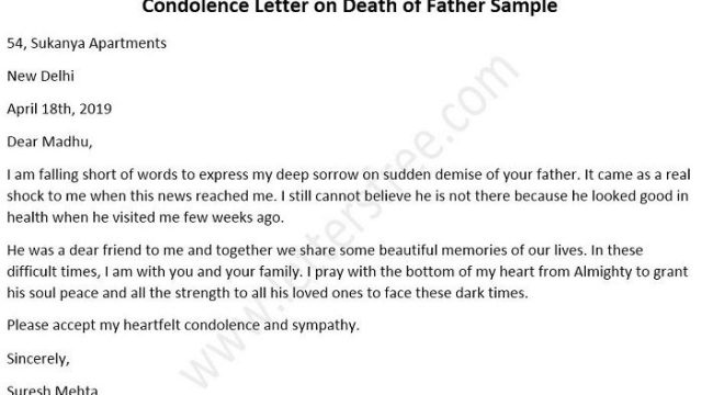 Condolence Letters on the Death of Father Sample Format
