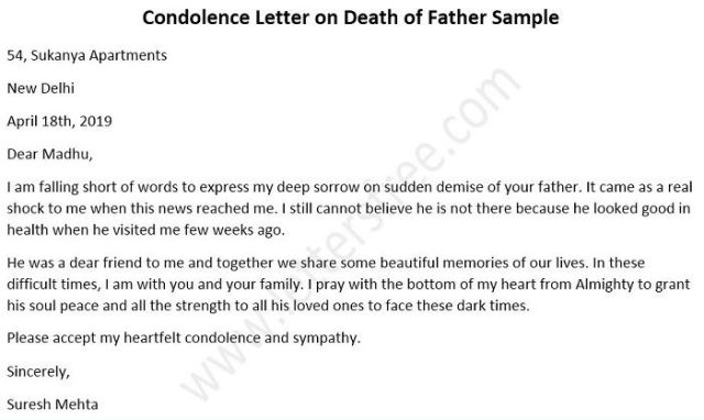 Letters On The Of Father Sample