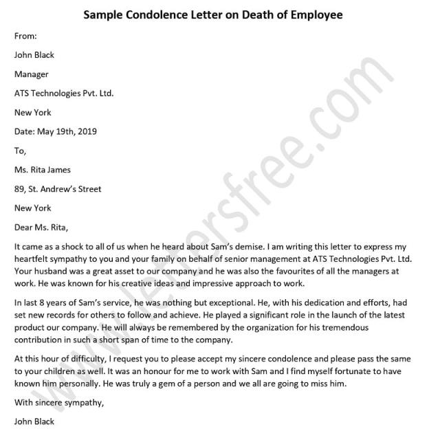 Condolence Letter On Of Employee