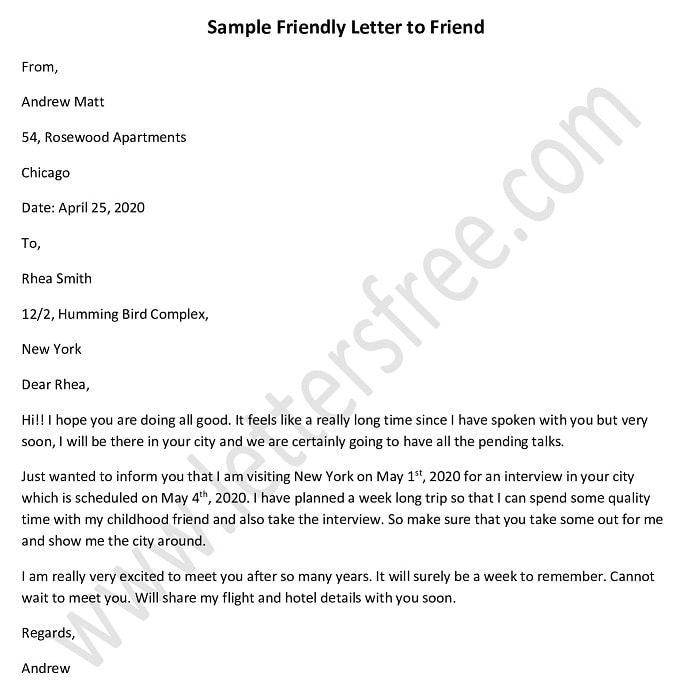 sample friendly letter to a friend