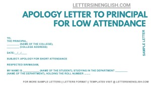 letter to principal for the shortage of attendance , application letter for attendance allowance in college format