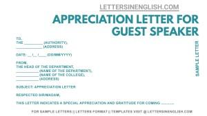 sample appreciation letter for guest speaker , how to write an appreciation letter for a guest speaker, appreciation letter for guest speaker format