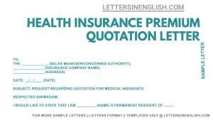 Health Insurance Premium Quotation Letter, Letter Requesting Health Insurance Policy Premium Quotation
