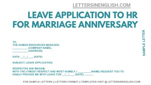 sample letter to company requesting leave for anniversary. anniversary leave application from office, sample leave application from office for anniversary