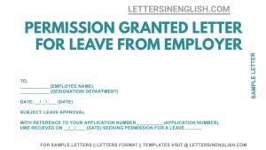 sample letter stating approval of leave , leave permission approval letter, leave approval letter from employer