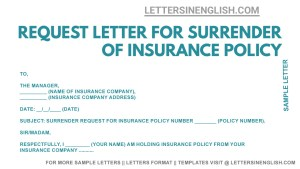 Request Letter for Surrender of Insurance Policy, sample request letter for insurance policy surrender