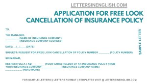 request letter format for free look cancellation of life insurance, free look cancellation of insurance policy sample letter, policy cancellation letter to insurance company template