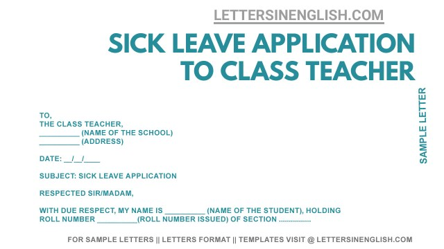 Sick Leave Application to Class Teacher - Sample Sick Leave Letter