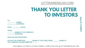 thank you for investing with us, thank you for investing in our company, thank you letter to investors sample