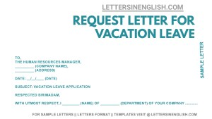 vacation leave letter, sample letter to the company requesting vacation leave , simple letter requesting leave for vacation