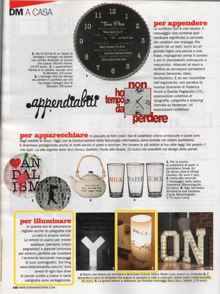 DonnaModerna n.18 aprile 2015 | Calligrafia, arredamento, lampade e lettere