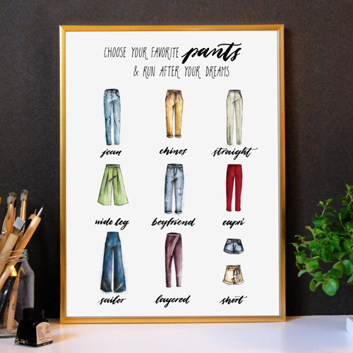 Affiche avec cadre doré | Idée déco design | Mode, pantalons & phrases inspirantes: voici la Collection Capsule WALLOOK de Letters Love Life