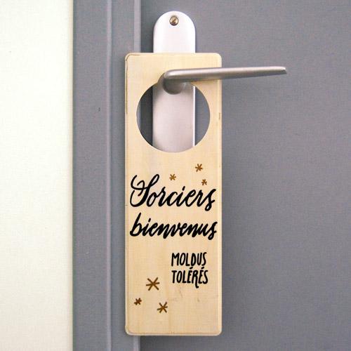 """Idée cadeau pour fan de Harry Potter: plaque de porte """"Sorciers bienvenus, moldus tolérés"""""""