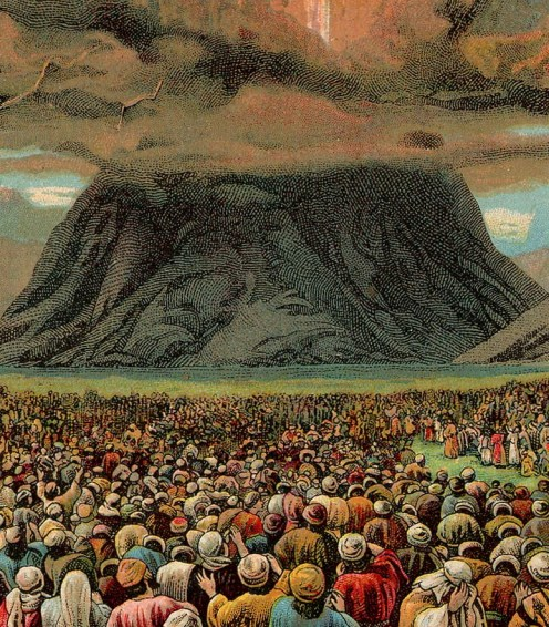 The revelation at Sinai, as depicted in an illustration from a card printed by the Providence Lithograph Company in 1907