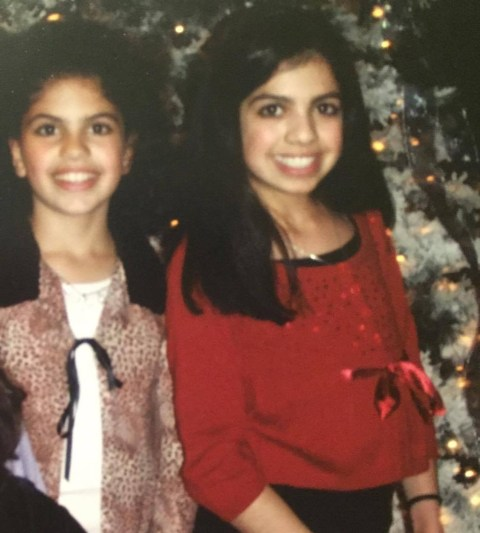 Alana and her sister at the party, age 12 or so